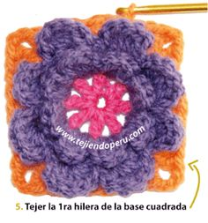 cuadrado flor crochet - flower granny square