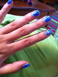 Blue shatter and gold sparkle nails :)