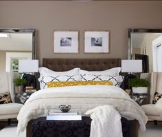 Here are some awesome brown bedroom photos, ideas, and color combinations along with some great tips and advice on how to incorporate this color scheme in your next bedroom remodel.: Brown with Yellow Accents