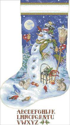 """Free Cross-stitch pattern """"Christmas stocking-Snowman"""""""