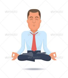 Buy Businessman in a Lotus Position by koctia on GraphicRiver. Illustration on a businessman with a coat taken off floating in air in meditation. EPS High resolution jpeg file i.