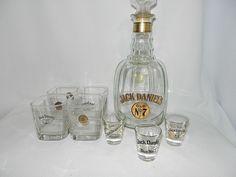 Vintage Jack Daniel's Old No 7 Half Gallon Commemorative 'Replica' Maxwell House Decanter – Set of Old Fashion Glasses and Shot Glasses