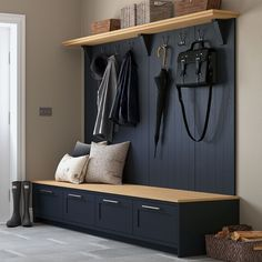 Everyone needs a beautiful boot room in their home. Pictured in our Oxford Blue Everyone needs a beautiful boot room in their home. Pictured in our Oxford Blue Mudroom Laundry Room, Laundry Room Design, Home Entrance Decor, House Entrance, Boot Room Utility, Utility Room Storage, Design Scandinavian, Hallway Storage, Home Pictures