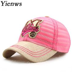 Yienws Children M Letter Embroidery Cartoon Pink Baseball Cap For Girl Summer Cotton Strip Baseball Hat For Boy YIC484 #Affiliate