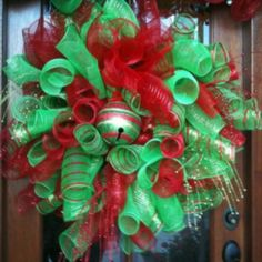 Christmas wreath made using floral mesh