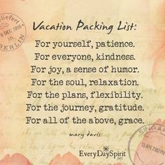 Patience ~ Kindness ~ Humor ~ Relaxation ~ Flexibility ~ Gratitude ~ and Grace ~❇~ In a virtual suitcase we can pack up some handy things for the journey.