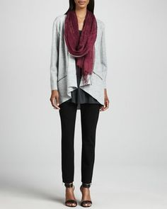 Lightweight+Boiled+Wool+Jacket,+Jersey+Tunic,+Linen+Weave+Scarf+&+Skinny+Ankle+Pants,+Women\'s+++by+Eileen+Fisher+at+Neiman+Marcus.