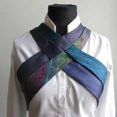 #harness made from #upcycled #neckties. Custom colors available. Contact Garage Couture Clothes on etsy. #steampunk #cyberpunk #ecofashion #ooak #clothing #vest