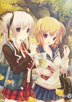 ✮ ANIME ART ✮ school uniform. . .pleated skirt. . .blazer. . .tie. . .school bag. . .keychains. . .ponytail. . .friends. . .food. . .drink. . .candy. . .pocky. . .cute. . .kawaii