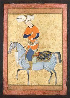 Horseman | Gouache and gold, 13.7 x 10.5 cm | Iran, late 16th century