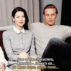 Sam talking about Jamie's ex with a jealous Caitriona