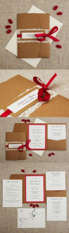 pink pocketfold wedding invitation Pink and Lace Rustic Wedding Invites NZ