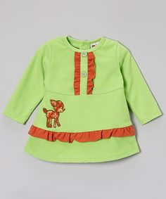 This Green & Orange Fleece Ruffle Dress - Infant, Toddler & Girls by Smockadot Kids is perfect! #zulilyfinds Really cute!