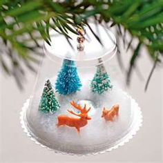 Such a cute Christmas gift for the kids to make. Plastic drink cup, paper coaster, cotton or fake snow, tiny mirror for a frozen pond, miniature Christmas figures (available at Michaels).