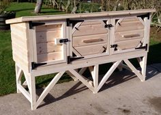 Night shutters for our rabbit hutches. The picture shows the night shutters on a single rabbit hutch.