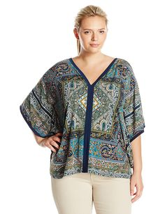 01c91e9d0bfe OneWorld Women's Plus Size Kimono Sleeve V-Neck Printed Poncho Top **  Awesome product