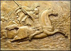 Bas relief of Alexander at the Battle of Indus. Bucephalus, Alexander the Great's horse is said to be descendant of the Nisean horse, a strong bony type of war horse. It seems that Nisean and Ferghana horses were the same breed.