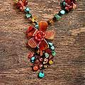 For scoop neck or collar tops->Agate and Carnelian 'Summer Flower' Necklace (Thailand) | Overstock.com
