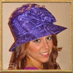 Fancy Reconstructed Vintage Purple Damask Hat with by JoyDesignInc, $145.00 @Joy Design, Inc. #joydesigninc #candice reconstructed #vintagehat