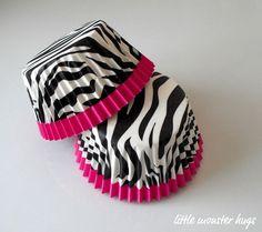 Hot Pink Zebra Print Greaseproof Baking Cups by LittleMonsterHugs, $3.50