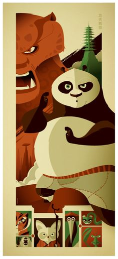 Kung Fu Panda poster by Tom Whalen Tom Whalen, Kung Fu Panda, Dreamworks Animation, Disney And Dreamworks, Pixar, Panda Art, Film D'animation, Minimalist Poster, The Villain