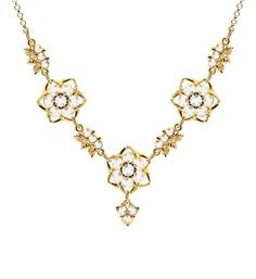 Victorian Style Necklace by Lucia Costin with White Swarovski Crystals and Twisted Lines, Crafted with Leaves and Fancy Charm; 24K Yellow Gold over .925 Sterling Silver; Handmade in USA