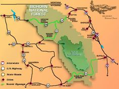 Wyoming - map of Bighorn National Forest Wyoming Camping, Buffalo Wyoming, Dude Ranch Vacations, Family Vacations, South Dakota Vacation, Forest Map, National Forest, Travel 2017