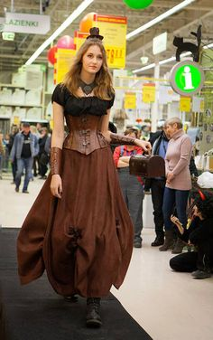 You can buy the corset here https://www.etsy.com/listing/206806043/hard-leather-corset-reduction-waist? skirt is castom order from https://www.facebook.com/SteampunkAndFantasy?fref=ts