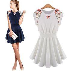 Womens New Fashion Short Sleeve Crew Neck Splicing Foral Lace Dress Mini LYQb132