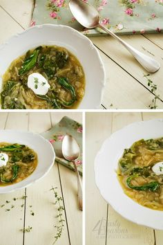 Onion soup with wine and chard