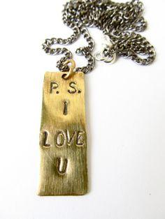 New Item- Brass Charm Necklace P.S. I Love U