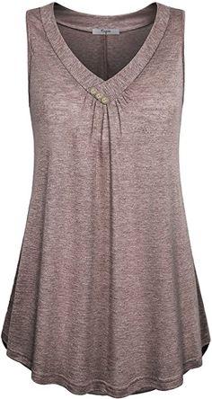 Women's Casual Button Decor Flowy Tank Tops Basic Sleeveless V Neck Tunic Top Blouse Plus Size Tank Tops, Tunic Tank Tops, Summer Tank Tops, Black Tank Tops, Short, Shirt Style, Fashion Outfits, Fashion Site, Men Fashion