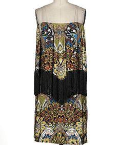 Another great find on #zulily! Mustard & Black Floral Strapless Dress - Women #zulilyfinds