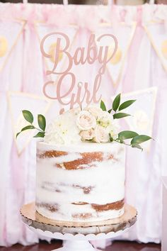 Baby Girl Cake Topper, Baby Shower Cake Topper, Gender Reveal Cake Topper, Rose Gold Baby Shower, Gold Glitter Baby Shower www.psweddingsand… ***This photo was taken for Angela Lanters baby shower. She added the pearl. Torta Baby Shower, Baby Shower Kuchen, Tortas Baby Shower Niña, Baby Shower Pasta, Girl Shower Cake, Fiesta Baby Shower, Baby Shower Cake For Girls, Baby Shower Cake Toppers, Babyshower Themes For Girls