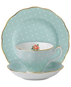 In love with this!  Royal Albert Polka Rose 3-Piece Set