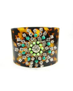 The Melissa Cuff - a mix of teal, lime, and tortoise