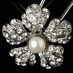 Rhodium Diamond White Pearl & Rhinestone Flower Hair Pin 3422