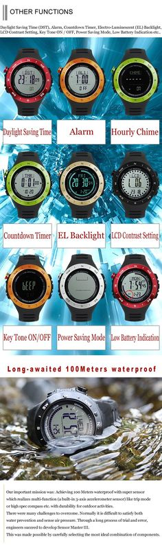 [LAD WEATHER] Swiss sensor 100m water resistant Altimeter Weather Sunny/ Cloudy/ Raining/ storm Multifunction Watch ** Click image for more details. (This is an affiliate link) #FitnessTracker