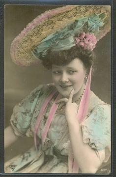 KC13 High Fashion Edwardian Lady Large Hat Tinted Photo PC BNK   eBay