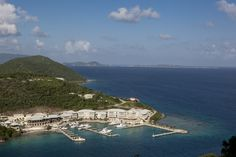 Scrub Island Resort, BVI - we stayed in the building right above the middle dock - Virgin Gorda in the far distance.