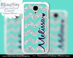 Mint Sparkle Chevron Galaxy S4 case / Galaxy S5 Case / Note 3 Case Not Actual Glitter Heart Personalized Monogram Name Rubber Plastic by BlingSity, $11.95