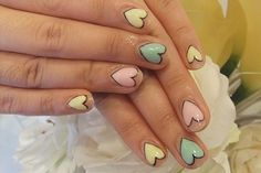 Such a cute pastel heart nail art idea