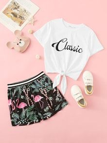 To find out about the Girls Tie Waist Tee & Flamingo Print Shorts Set at SHEIN, part of our latest Girls Two-piece Outfits ready to shop online today! Girls Fashion Clothes, Teen Fashion Outfits, Outfits For Teens, Stylish Outfits, Girl Fashion, Summer Outfits, Cute Sleepwear, Pajama Outfits, Cute Girl Outfits