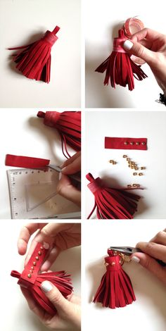 I love the tassels and the touch that they give to our accessories. Then, today I want to share an easy tutorial: how to make a leather Diy Leather Tassel, Diy Tassel, Leather Art, Leather Gifts, Tassel Jewelry, Leather Tooling, Tassels, Leather Keychain, Leather Earrings