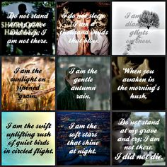 """A beautiful poem by Mary Elizabeth Frye, pictures from the BBC show Sherlock.  """"I am not there.  I did not die."""""""