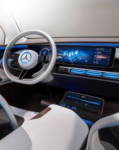 Mercedes Generation EQ Concept 2016 Paris MotorShow Cluster & Central Display Design                                                                                                                                                                                 More