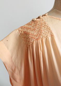 Vintage 1920s Peach Silk Smocked Tunic Dress