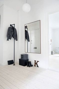 Some ideas of Scandinavian inspired entryways with monochrome look. Which one is your favourite? : : Credit to paradissi : : Shop Nordic luumodesign.com