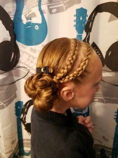2 dutch braids into a messy bun  ♡