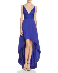 Aidan Aidan Deep V High/Low Dress | Bloomingdale's